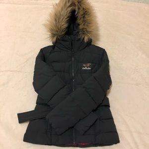 Hollister Coat Faux Fur Hood